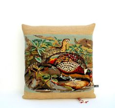 French Tapestry Needlepoint Pheasants Quail Field by Retrocollects £40 https://www.etsy.com/shop/Retrocollects