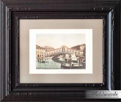 """Quadro """"Veneza"""" (gravura) com moldura preta entalhada à mão. Fomato: 65 x 55 cm. Cód. 3903. contato@moldurartegaleria.com.br — em Moldurarte Galeria."""