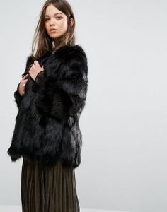 Jayley Luxurious Stripe Faux Fur Jacket