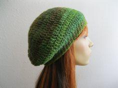 Crocheted Slouchy Beanie Emerald Green Blend Fall Fashion - Ready to Ship