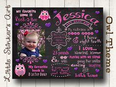 1st birthday chalkboard / Chalkboard Birthday Poster Sign Printable / DIGITAL / baby's 1st / Baby's First Birthday/ Owl Girl art on Etsy, $32.00