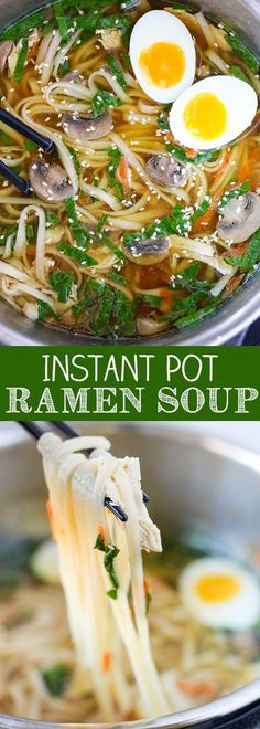 This Instant Pot Ramen Soup has quickly become a favorite of mine. Fresh ginger, garlic and mushroom bring together a rich and delicious homemade chicken stock. Add noodles, baby spinach and freshly shredded carrots to make it a meal. The Instant Pot real Slow Cooker Recipes, Soup Recipes, Chicken Recipes, Cooking Recipes, Healthy Recipes, Pressure Cooker Recipes Vegetarian, Quick Recipes, Ip Chicken, Recipies