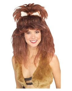 Be in touch with your wild, outdoorsy, side! This Cavewoman wig will put you in the mood to rummage the woods with a stick in hand! This wig features brown messy brown hair with a high half ponytail and a bone through the middle. This would pair well with any of our cave woman or jungle woman inspired costumes! - Womens wig for a plus size halloween costume - Go back to pre-historic times with this fun wig accessory. Cavewoman Wig with bone in the color brown