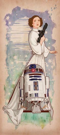 Leia & R2 Star Wars Love, Star War 3, Star Wars Art, Star Trek, Amour Star Wars, Science Fiction, Princesa Leia, Images Star Wars, Geek Stuff