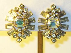 Vintage Large Clear Rhinestone Clip by delightfullyvintage on Etsy