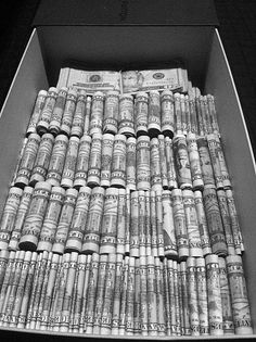 piles of rolled bills would look great in my shoeboxes