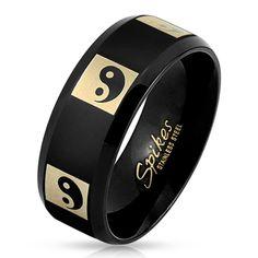 8mm Black Yin Yang Stainless Steel Men's Fashion Ring