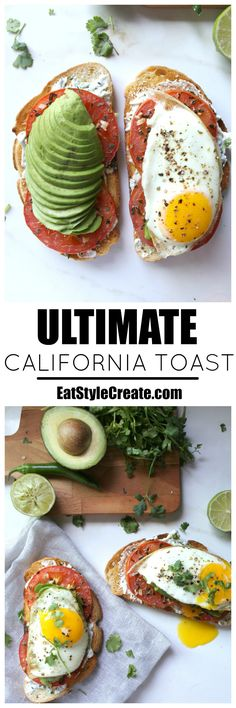 Ultimate California Toast   Sourdough toast topped with serrano pepper + cilantro cream cheese, garlic roasted tomatoes, avocado and a fried egg   EatStyleCreate.com #vegetarian