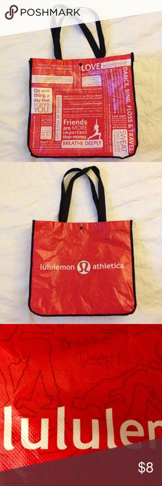 """LULULEMON ATHLETICA Large Reusable Shopping Bag LULULEMON ATHLETICA Large Reusable Shopping Bag with snap closure. Black, white and red coated plastic with nylon strap. 100% polypropylene. Good used condition as I only used it once to bring items home from the store. Some creases from being folded up and stored. Clean inside. No holes/rips. Measurements approx. : Height:  14.5"""" x Width: 15.75"""" x Depth: 6.5"""". lululemon athletica Bags Totes"""