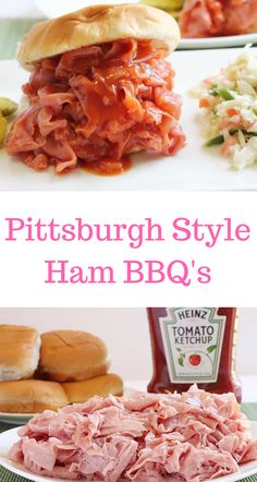 Pittsburgh, PA knows how to make a ham bbq! Make these easy ham bbq's for your next picnic or graduation Pittsburgh, PA knows how to make a ham bbq! Make these easy ham bbq's for your next picnic or graduation party. Ham Sandwich Recipes, Sandwiches For Lunch, Soup And Sandwich, Pork Recipes, Cooking Recipes, Chicken Sandwich, Vegan Sandwiches, Sandwich Ideas, Game Recipes