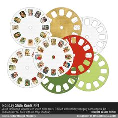 These are great for round up pages, title pages or kids pages. Holiday Slide Reels No. Kids Pages, Portfolio Ideas, December Daily, Sliders, Digital Scrapbooking, Holiday, Design, Products, Vacation
