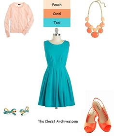 Peach, Coral & Teal Spring Outfit