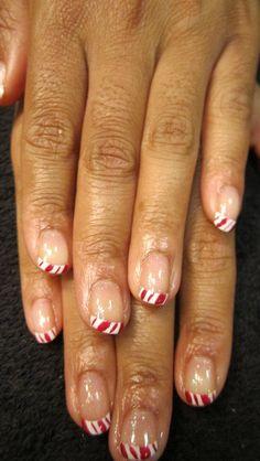Candy Cane nail design using CND Shellac gel polish