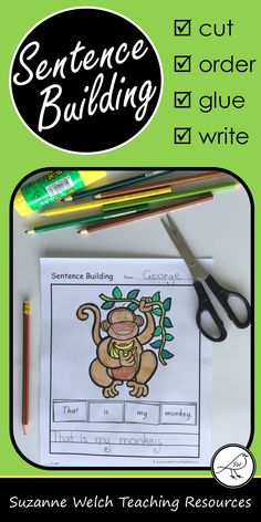Sentence building worksheets for junior students. 25 activity sheets in four different formats so you can easily differentiate your student's learning. Reading, handwriting and fine motor skills all in one activity. Learning To Write, Student Learning, Teaching Kids, School Resources, Teacher Resources, Classroom Resources, Sentence Building, Animal Worksheets, Spelling Words