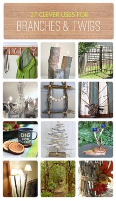 27 Clever Uses for Branches & Twigs  (my twig wreath is included in this collection!) Wood Projects, Diy Projects To Try, Craft Projects, Garden Projects, Upcycling Projects, Home And Garden, Garden Art, Wood Crafts, Diy Crafts