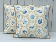18x18 blue shell nautical pillow cover, Etsy $29