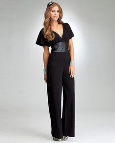 f84a5906b99 NWT BEBE Black Plunge V Neck Jumpsuit With Leather Band  148 - Sz Large