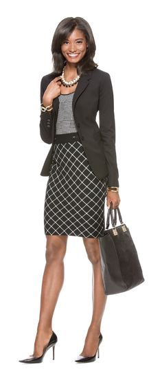 Preferred Stock - Create this look Collection Two-Button Jacket, Glen Plaid Knit Tank, Check Pencil Skirt, Mixed Media Necklace.