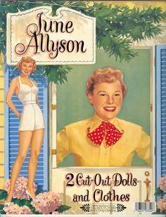 June Allyson reprint of 1953 - Bobe Green - Álbumes web de Picasa Paper Dolls Book, Vintage Paper Dolls, Vintage Toys, Antique Dolls, June Allyson, Paper People, Bobe, Bride Dolls, Old Paper