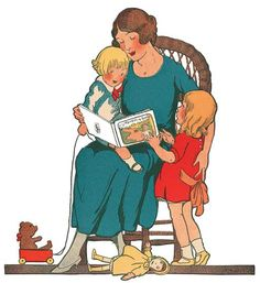 Mother Reading To Children Blank Card | Book Lovers Anytime Greeting Cards