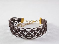 Brown Leather Macrame Bracelet