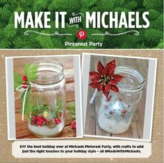 Holiday Mason Jar Luminary - Made With Michaels Holiday Pinterest Party