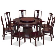 "Chinese Dragon Motif Rosewood Dining Set with 8 Chairs, 54""dia."