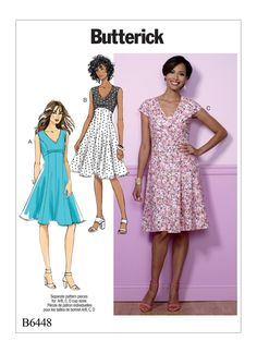 B6448 Misses' Fit-and-Flare, Empire-Waist Dresses