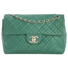 Chanel Green Leather Handbag Timeless | Vestiaire Collective