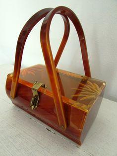 1950 s butterscotch brown floral lucite purse    by VivianVintage8 242ad4274a328