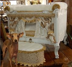 Luxury dog mansions are becoming all the rage! See the exclusive collection of the most EXPENSIVE dog mansions in the world! Luxury Dog House, Luxury Pet Beds, Wood Dog Bed, Diy Dog Bed, Dog Mansion, Cute Dog Beds, Doggie Beds, Cat Beds, Most Expensive Dog
