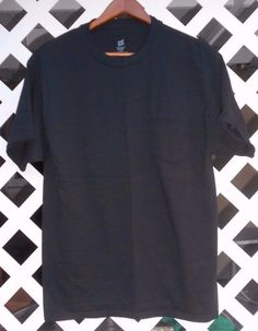 HANES COMFORT SOFT New Men's Black Pocket T Shirt Size L Heavyweight  All Cotton #Hanes #BasicTee
