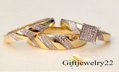 1.60 Carat Diamond Trio Engagement & Wedding Ring Set Solid 10K Yellow Gold Over #giftjewelry22