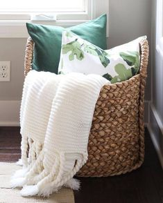 Pottery Barn Beachcomber basket with chunky ivory throw, green velvet and fig le. Pottery Barn Beachcomber basket with chunky ivory throw, green velvet and fig leaf pillow. Great tips for winter home maintenance! Home Maintenance Checklist, Teenage Room Decor, Blanket Storage, Pillow Storage, Couch Storage, Corner Storage, Hidden Storage, Wall Storage, Extra Storage