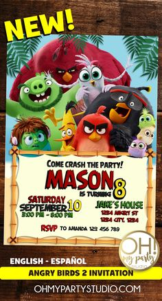 ANGRY BIRDS 2 INVITATIONS, ANGRY BIRDS 2 PARTY, ANGRY BIRDS 2 INVITATION, ANGRY BIRDS MOVIE INVITATION Cumpleaños Angry Birds, Birds 2, Bird Birthday Parties, Birthday Party Invitations, One Stroke Painting, Body Painting, Movie Invitation, Homemade Face Paints, Minion Party