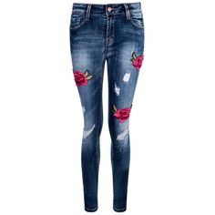 Boohoo Rosy Mid Rise Floral Embroidery Skinny Jeans | Boohoo ($44) ❤ liked on Polyvore featuring jeans, medium rise jeans, skinny fit jeans, mid-rise jeans, cut skinny jeans and lined jeans