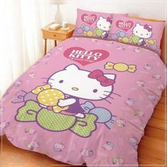 """Hello Kitty Double Quilt 59"""" x 70""""7/8 Candy Pink Sanrio"""