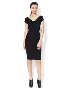 NARCIISO RODRIGUEZ - Wool V-Neck Seamed Sheath