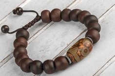 Wood Bracelet Men Bead Bracelet Men Mala by TribeAzureFairTrade