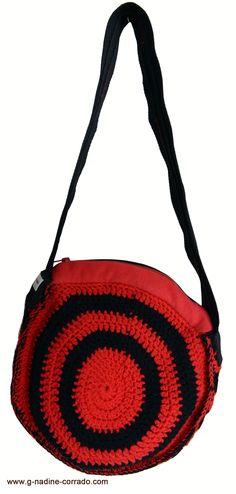 Sac crochet main bi-couleur rouge-noir, pour femme. www.g-nadine-corrado.com