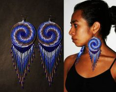 Native American Beaded Earrings, Beaded Spiral Earrings, Large Medallion Earrings, Cycle and Balance Earrings, American Indian Earrings Aztec Jewelry, Aztec Earrings, Beaded Earrings Patterns, Indian Earrings, Bead Jewellery, Seed Bead Earrings, Fringe Earrings, Diy Earrings, Seed Beads