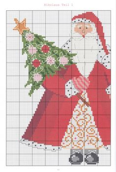 Santa Claus 1 of 2 Santa Cross Stitch, Cross Stitch Tree, Cross Stitch Books, Cross Stitch Needles, Cross Stitch Charts, Cross Stitch Designs, Cross Stitch Patterns, Loom Patterns, Quilt Stitching
