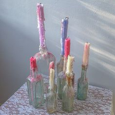 pretty candles on bottles Witch Aesthetic, Aesthetic Rooms, Aesthetic Photo, My New Room, My Room, Vasos Vintage, Bedroom Inspo, Bedroom Decor, Estilo Kitsch