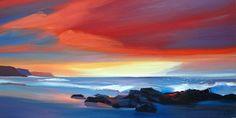 """Pam Carter.Sunset Surf 20""""x40"""""""