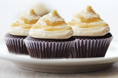 Salted Caramel Devil's Food Mini Cupcakes - Fleur de Sel is a special salt with an earthy, delicious flavor that perfectly complements the sweet caramel-cheese frosting.