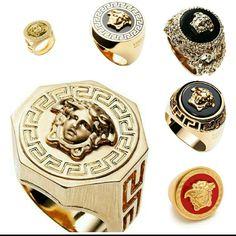 Gold Versace rings for men | Fashom User: sirwalterfashionisto