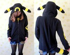 Fleece Umbreon hoodie--KIGURUMI Cosplay jacket coat Charactor animal Hooded  Pajamas Pyjamas Xmas gift Adult  Costume outfit  hoodies