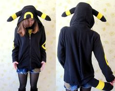 Fleece Umbreon hoodie--KIGURUMI Cosplay jacket coat Charactor animal Hooded  Pajamas Pyjamas Xmas gift Adult  Costume outfit  hoodies