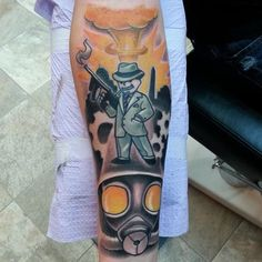 We are fans of the gaming tattoos and want to bring you some of the best fallout 4 tattoo ideas. Fallout 4 offers hours of fun with large and small developm Unique Half Sleeve Tattoos, Half Sleeve Tattoos Drawings, Half Sleeve Tattoos Designs, Best Sleeve Tattoos, Tattoo Designs, Badass Tattoos, Great Tattoos, Fallout 4 Tattoos, Half Sleeve Tattoo Template