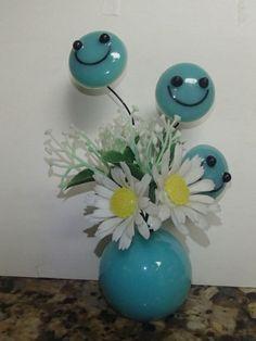 VTG 1960 Retro Lucite Acrylic Aqua Blue Smiley Face Flower Sculpture Figurine Hippie Flowers, Retro, Aqua Blue, Smiley, Vintage Decor, 1960s, Mid Century, Sculpture, Face